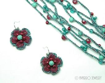Dark Red Turquoise Blue Crochet Beaded Jewelry Set, Wrap Necklace Bracelet, Dangle Beaded Earrings, Long Necklace Bracelet, Textile Jewelry
