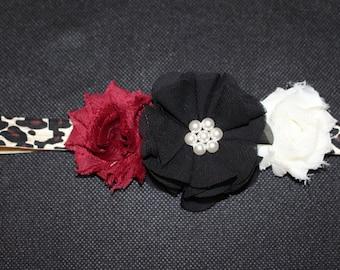 Cheetah Print Infant Headband with Black, Maroon & White Flowers