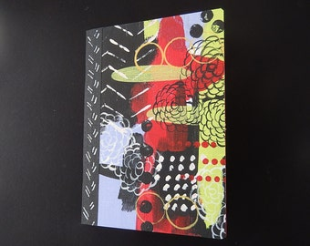 Hand Painted Canvas Covered Journal, Blank Book, Sketchbook