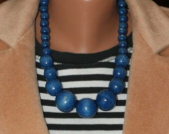 Blue turquoise Necklace and bracelet, Layered Wood Necklace, Wood Necklace Set, Wooden Necklace Set, Wood Jewelry