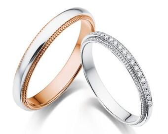14k gold milgrain wedding bands gold wedding bands elegant wedding bands - Elegant Wedding Rings