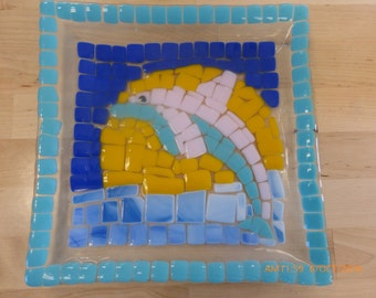 Fused Glass Dolphin Plate