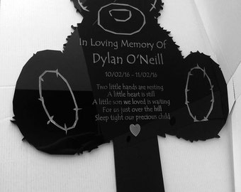 Personalised Teddy Grave Marker Memorial  Plaque