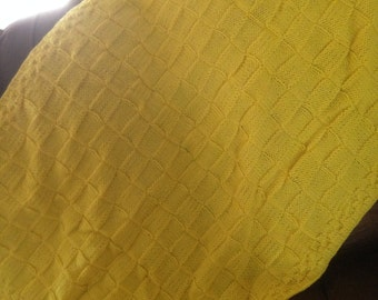 Handmade Yellow Knitted Blanket