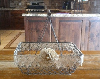 Lace Trimmed Wire Basket