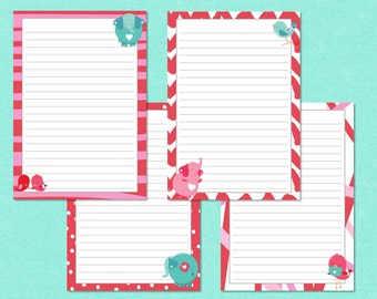 Printable Letter Paper : Love Birds and Elephants - Reds