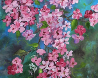 Cherry Blossoms Original Oil Painting on Canvas 10 x 20