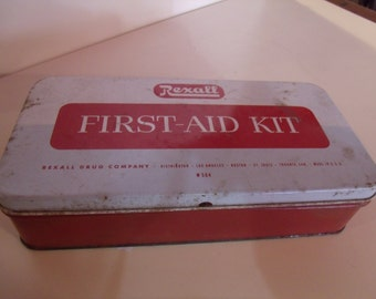 1950's Rexall First Aid Kit / Tin