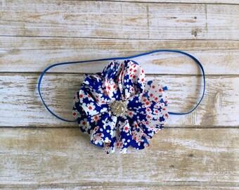 4th of July Headband/Patriotic Headband/Baby Headband/Infant Headband/Baby Girl Headband/Newborn Headband/Toddler Headband/Flower Headband