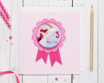 Personalised Girl's Age Badge Card - unicorn