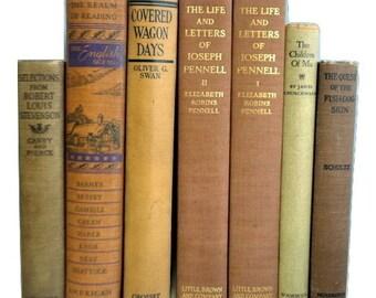 Tan Decorative Books, Antique Books, Vintage Book Collection, Wedding Centerpiece, Book Decor, Interior Design,light brown,mustard