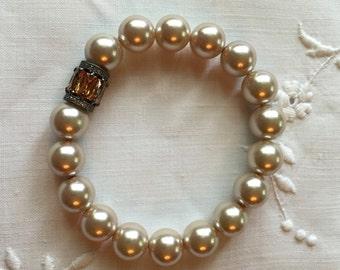 Champaign Pearl Beaded Bracelet