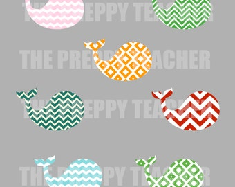 Preppy Colored Whale Labels