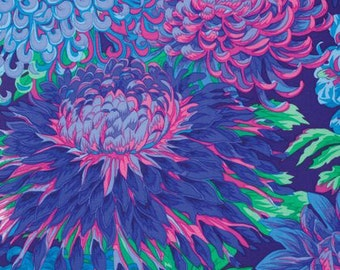 "End of Bolt, Kaffe Fassett Fall 2015 - Philip Jacobs - Japanese Chrysanthemum in Blue 15""x44"""