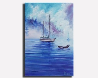"""Seascape painting Oil painting on canvas Art painting Home decor Realism art Landscape painting Wall art Holidays Handmade gift Size 12x18"""""""