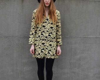 Vintage Paisley Embroidered Mini Dress Black Gold