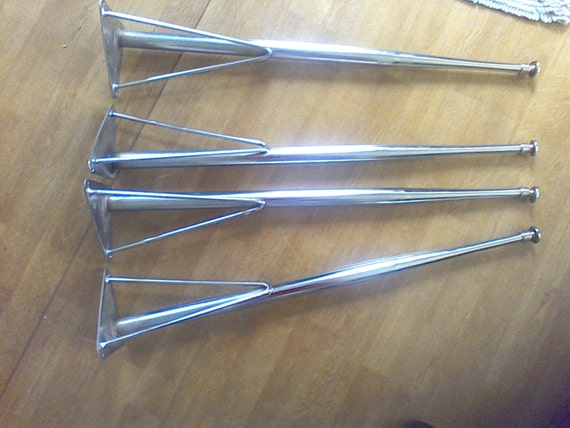 Table Mounting Plate : Table legs furniture set of chrome metalmid century
