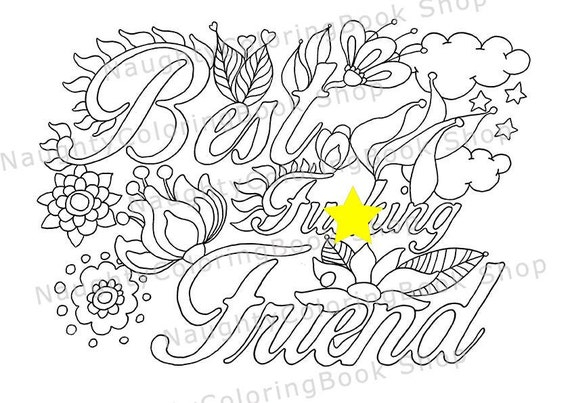 best fcking friend best friend gift best friend birthday gift printable coloring pages swear word coloring pages adult coloring book