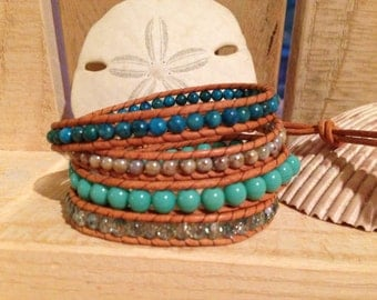 4 Wrap Natural Leather Bracelet - Blue Agate & Glass Beads