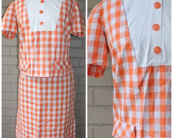 Retro 1960s Orange Gingham Two Piece Set - Vintage Blouse and Skirt - Size