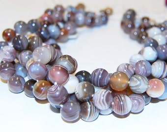 Botswana  Agate Smooth Round Loose Beads Size 6mm/8mm/10mm. 15.5'' Long Per Strand.R-S-AGA-0033
