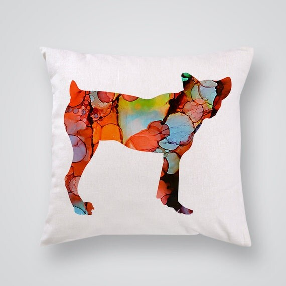 Cute Throw Pillow Covers : Cute Small Dog Pillow Cover Decorative Pillow by SpiritColorArt