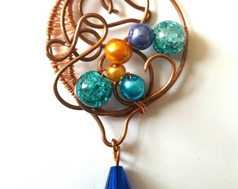 Wire wrapped copper and bead pendant, handmade and unique
