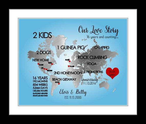 16th Anniversary Wedding Gift For Him Engagement Gift 16