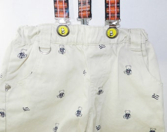 Vintage Khaki Toddler Shorts with Suspenders, Vintage Boys, Khaki Shorts, Toddler Khakis, Suspender Shorts