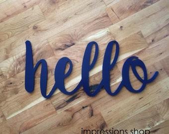 "24"" Navy Hello Word Cutout"