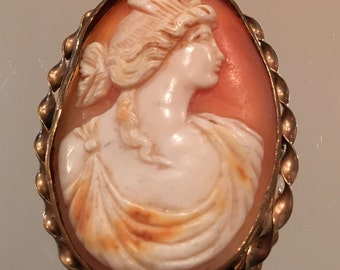 Antique Shell Cameo Pin or Brooch or Pendant with Twisted Gold-Filled Frame