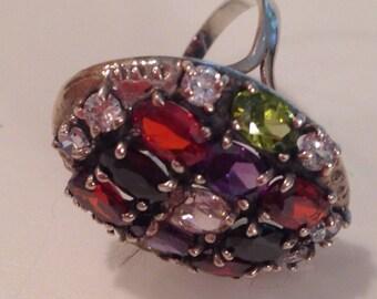 Stunning Sterling Silver & Gemstone Ring ~ Statement Piece!