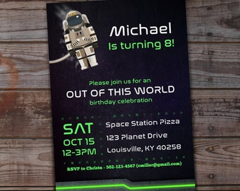 Outer Space Birthday Invitations, Astronaut Birthday Invitations, Outer Space Birthday Party Invitations, Out of This World Birthday Party