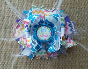 First day of school boutique bow, little girl hair bow, Ott hair bow, feathers