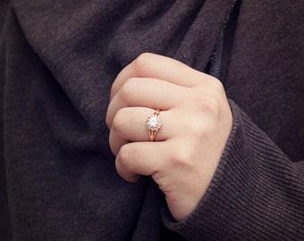 Rose Gold 18K Filled Swarovski Crystal Womens Promise/Engagement Ring