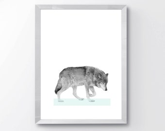 mint modern wolf print, modern abstract print, nursery wolf print, black and white, pastels, home decor, abstract animal print, animal art