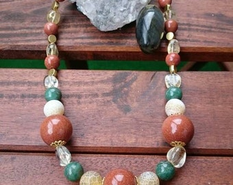 Goldstone, citrine and agate necklace