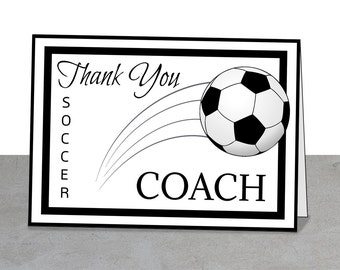 PRINTABLE Team Thank You Card for Soccer Coach, Instant Download, Greeting Card