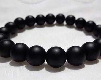 Matte Black Onyx bead bracelet (On Stretch) AAA Quality 10mm for MEN or WOMEN