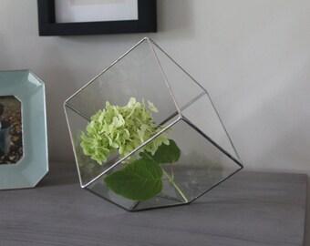 Silver Stained Glass Cube Terrarium Rustic Wedding Centerpiece Geometric Indoor Planter Air Plant Holder Succulent Planter Modern Home Decor