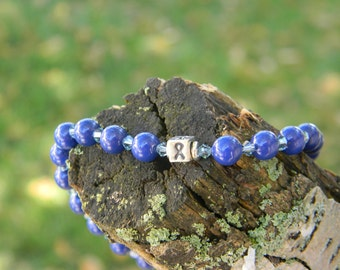 Blue colon cancer awareness and support pearl bracelet