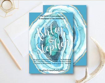 Blue Agate Wedding Invitation Suite