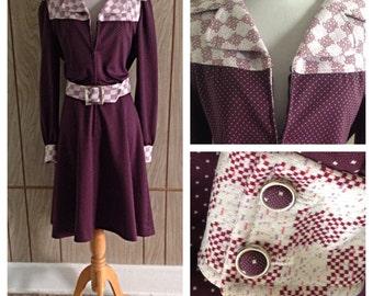 Vintage 60's zip front dress and belt - L