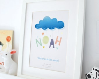 Personalised birth details, newborn baby girl or boy, custom nursery wall art,  cloud print, new baby gift, christening present