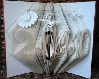 Folded Book Art Folding Sculpture Date Number Year Birthday Anniversary Wedding Birth - Plain/Embellished/Embossed Inlay Colours Available