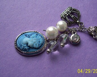Vintage  Victorian- style blue cameo lady necklace