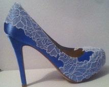 Royal blue wedding shoes Lace wedding shoes Blue wedding shoes Satin and lace high heel shoes with platform