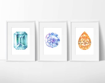 Set of Three Gem Prints. Emerald, Diamond, Citrine Crystal Painting. Handpainted Gemstone. Watercolor, Art Print, Art Gift, Home Decor