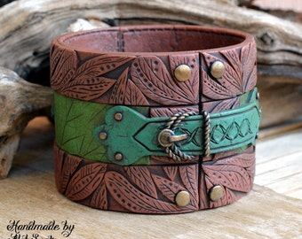 Green bracelet Green bangle Brown bracelet Brown bangle Leaf bracelet Leaf bangle Elven bangle Elven bracelet Polymer clay jewelry for women
