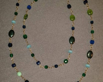 "40"" green/blue necklace"